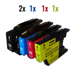 5 Brother LC1240BK-C-M-Y (2x nero + 1x colore)